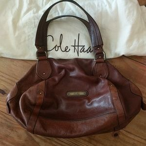 Cole Haan Brown Leather Roll Bag Satchel $325 tag